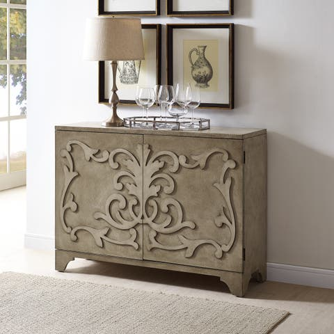 Hand Painted Distressed Beige Finish Bar and Wine Cabinet