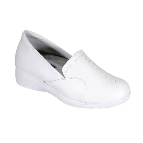 24 HOUR COMFORT Mandy Women Extra Wide Width Sleek SlipOn Wedge Shoes
