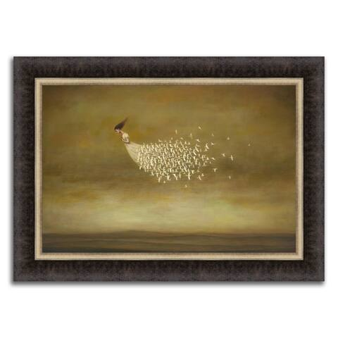 """Train of Doves"" Framed Painting Print in Acrylic Finish - 33 x 24"