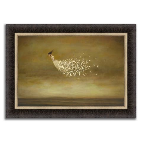"""""""Train of Doves"""" Framed Painting Print in Acrylic Finish - 33 x 24"""
