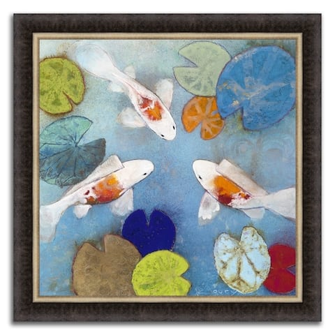 """""""Koi Pond """" Framed Painting Print in Acrylic Finish - 34 X 34"""