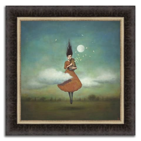 """Dreamy Box Harp"" Framed Painting Print in Acrylic Finish - 26 X 26"