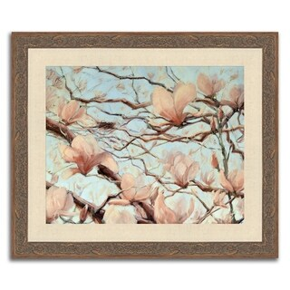 """""""Nest and Magnolias I """" Framed Painting Print in Acrylic Finish"""
