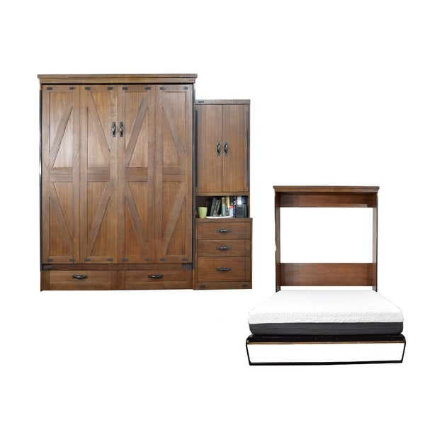 Queen Steeplechase Murphy Bed with One Pier Cabinet in Cappuccino Finish