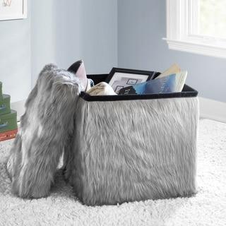 Faux Fur Collapsible Storage Ottoman (Grey)