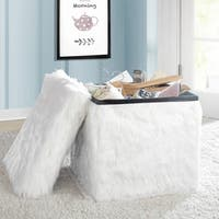 Faux Fur Collapsible Storage Ottoman
