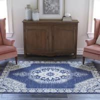 "Momeni Anatolia Machine Made Wool and Nylon Navy Area Rug - 7'9"" x 9'10"""