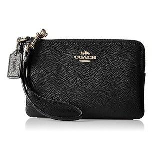 Coach Crossgrain Leather Small Black Wristlet