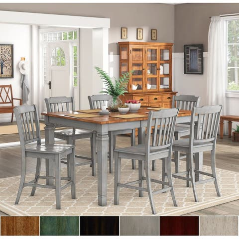 Elena Antique Grey Extendable Counter Height Dining Set - Slat Back by iNSPIRE Q Classic