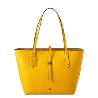 COACH Womens Polished Pebbled Leather Market Tote Silver/Yellow Stone Bag
