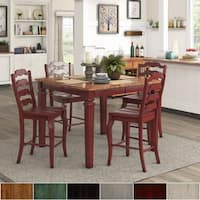 Elena Berry Red Extendable Counter Height Dining Set with French Ladder Back by iNSPIRE Q Classic