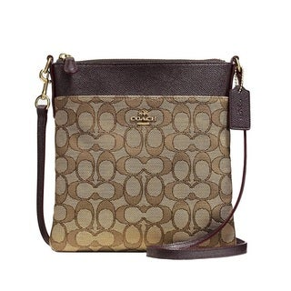 COACH Signature Brown Messenger Crossbody Bag