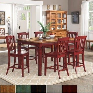 Elena Berry Red Extendable Counter Height Dining Set - Slat Back by iNSPIRE Q Classic