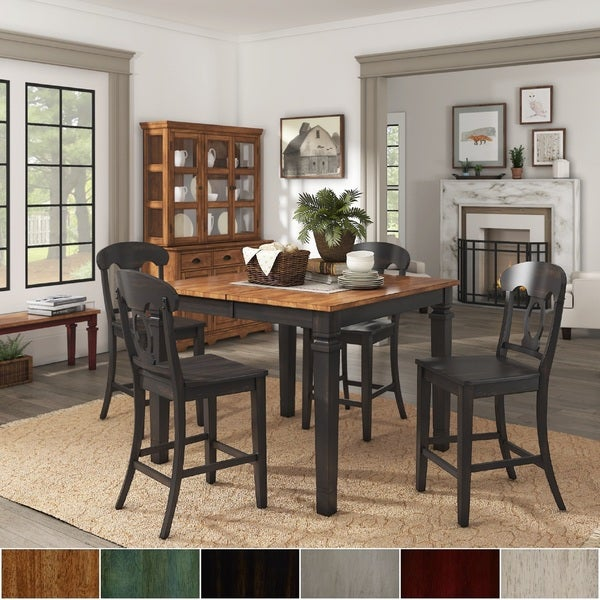 Elena Antique Black Extendable Counter Height Dining Set with Napoleon Back by iNSPIRE Q Classic