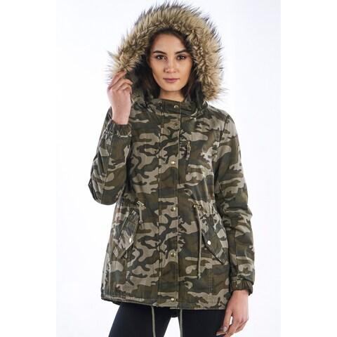 Ladies Camo Faux Fur Detachable Hood Parka Jacket By Special One