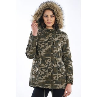 Ladies Camo Faux Fur Detachable Hood Parka Jacket By Special One