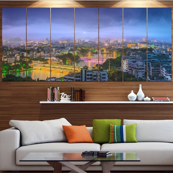 Designart ' Li River and Karst Hills Panorama' Modern Cityscape Wall Art