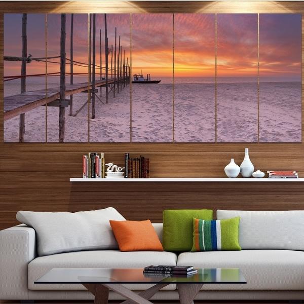Designart 'Texel Island Seaside Jetty Panorama' Modern Seashore Canvas Wall Art