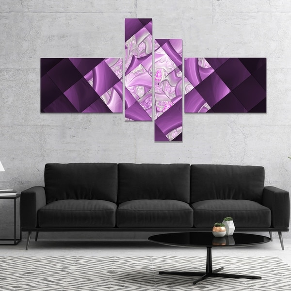 Designart 'Purple Pixel Field of Squares' Abstract Wall Art Canvas