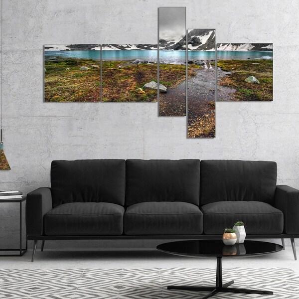 Designart 'Cloudy Sky above Mountain Lake' Landscape Canvas Art Print