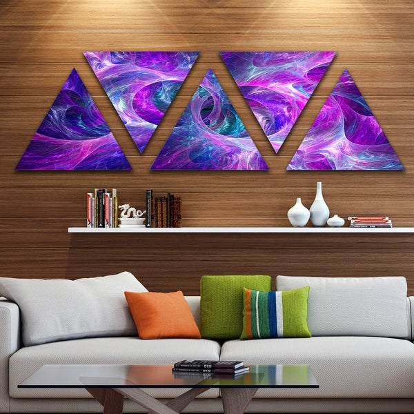 Designart 'Snow Purple Fractal Texture' Contemporary Triangle Canvas Art Print - 5 Panels