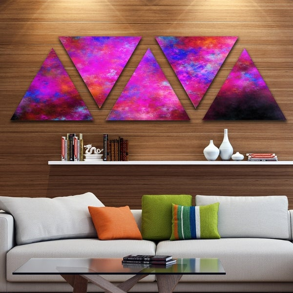 Designart 'Red Blue Starry Fractal Sky' Contemporary Art on Triangle Canvas - 5 Panels