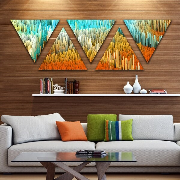 Designart 'Macro Render Structure Yellow Orange' Canvas Art Print - Triangle 5 Panels