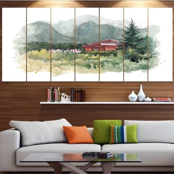 Designart 'Watercolor House Aad Mountains' Landscape Wall Artwork