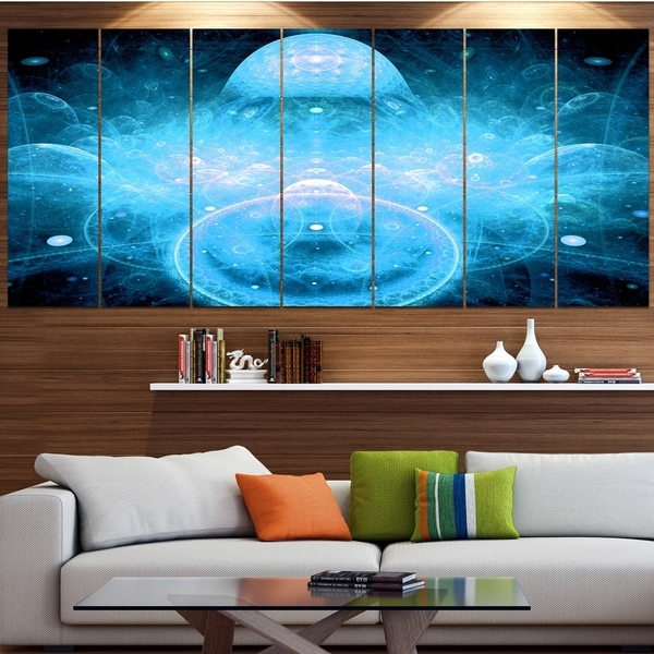 Designart 'Infinite Light Blue Universe' Modern Floral Artwork