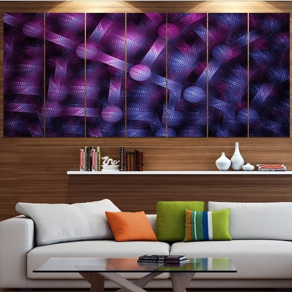 Designart 'Crystal Cell Purple Steel Texture' Abstract Wall Art Canvas
