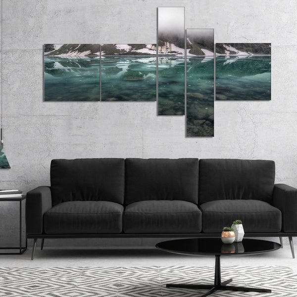 Designart 'Beautiful Turquoise Mountain Lake' Landscape Canvas Art