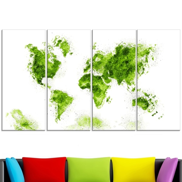 Design Art 'Green' Map Canvas Art Print