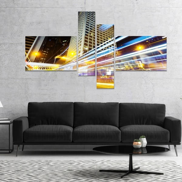 Designart 'Urban City Traffic Trails' Cityscape Digital Art Canvas Print