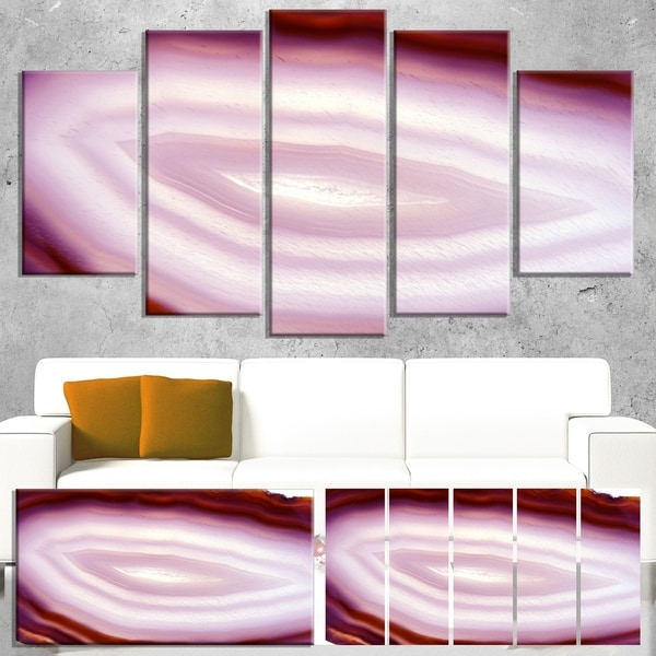 Designart 'Pink Agate Geode Geological Crystals' Large Abstract Canvas Artwork