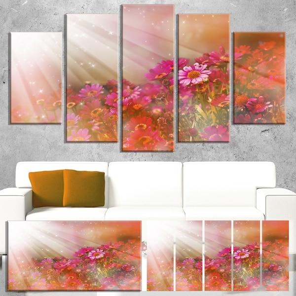 Designart 'Little Red and Pink Flowers Spring' Large Floral Canvas Artwork