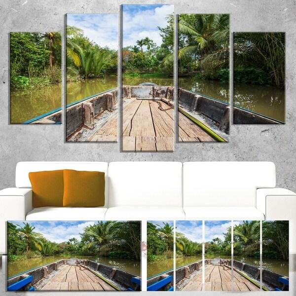 Designart 'Boat in Mekong River Vietnam' Oversized Landscape Canvas Art