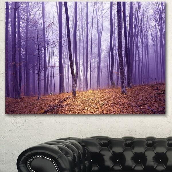 Designart 'Magenta Foggy Fairytale Forest' Large Forest Canvas Art