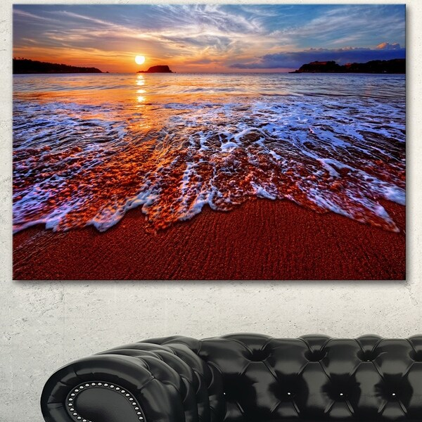 Designart 'Colorful Sunset with Bright Waters' Seashore Art Print on Canvas