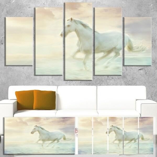 Designart 'Fantasy White Horse' Modern Animal Canvas Wall Artwork