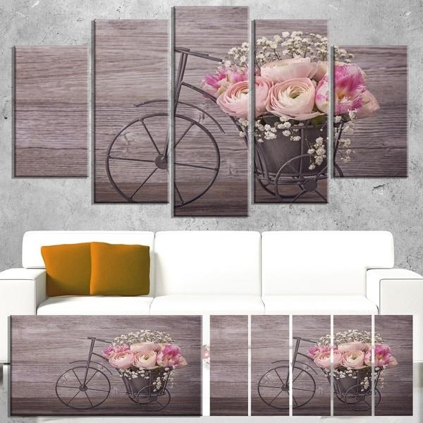 Designart 'Ranunculus Flowers on Bicycle' Floral Canvas Artwork Print