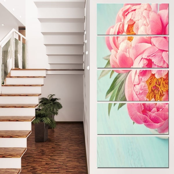 Designart 'Peony Flowers on Blue Background' Floral Canvas Artwork Print