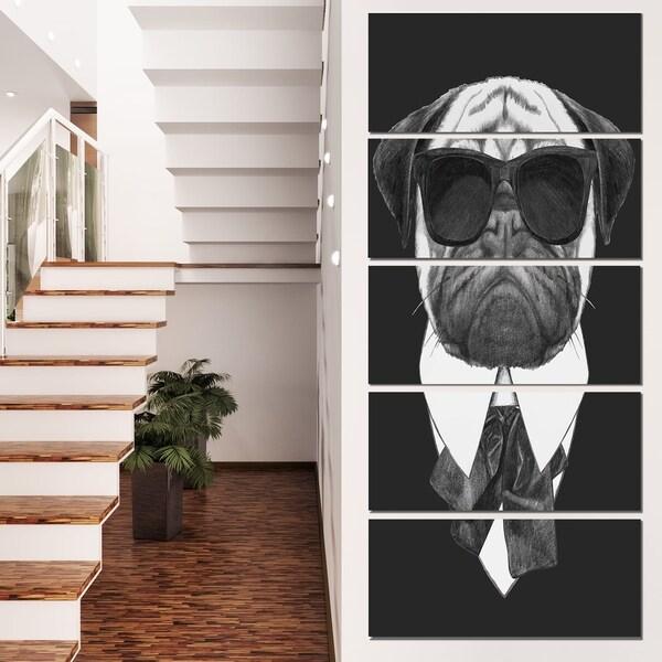 Designart 'Funny Dog with Black Glasses' Large Animal Wall Artwork