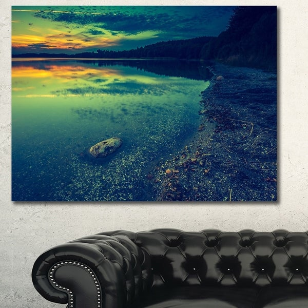 Designart 'Dark Vintage Lake at Sunset' Boat Canvas Artwork