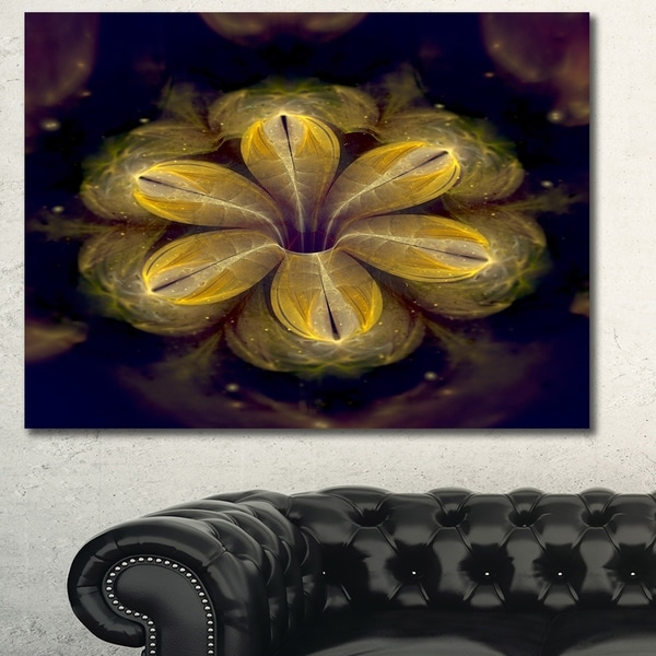 Designart 'Black Yellow Fractal Flower Pattern' Abstract Artwork on Canvas