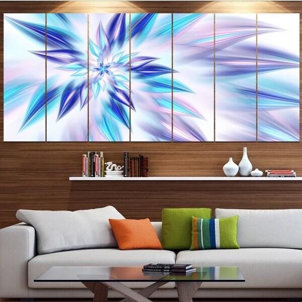 Designart 'Light Blue Fractal Spiral Flower' Abstract Wall Art on Canvas