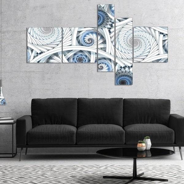Designart 'White Spiral with Blue Fractal Art' Large abstract art