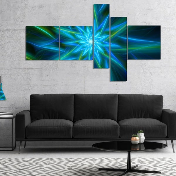 Designart 'Shining Turquoise Exotic Flower' Floral Canvas Art Print
