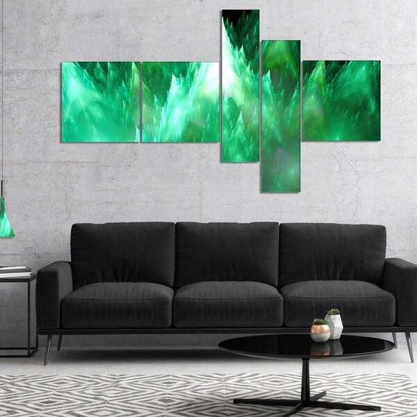 Designart 'Green Fractal Crystals Design' Abstract Canvas Art Print