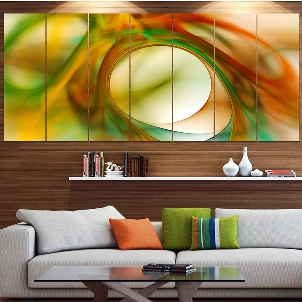 Designart 'Circled Green Psychedelic Texture' Abstract Art on Canvas