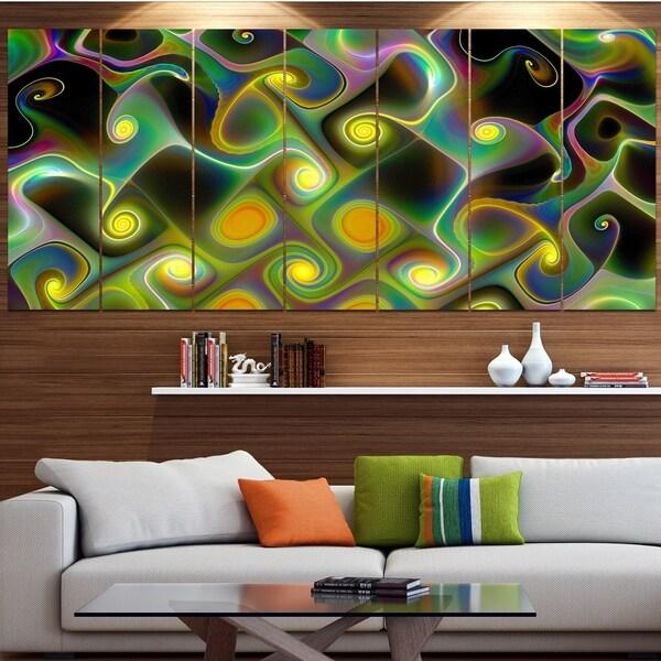 Designart 'Yellow Fractal Pattern with Swirls' Abstract Wall Art Canvas